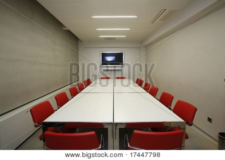 interior of a modern boardroom