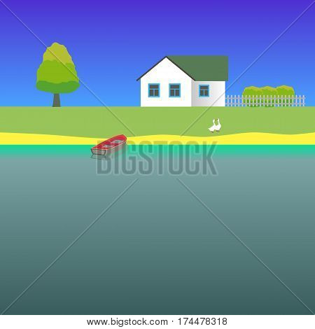 Primitive landscape with lake boat house and two gooses