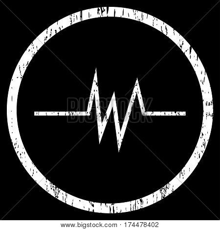 Pulse Signal grainy textured icon for overlay watermark stamps. Rounded flat vector symbol with scratched texture. Circled white ink rubber seal stamp with grunge design on a black background.