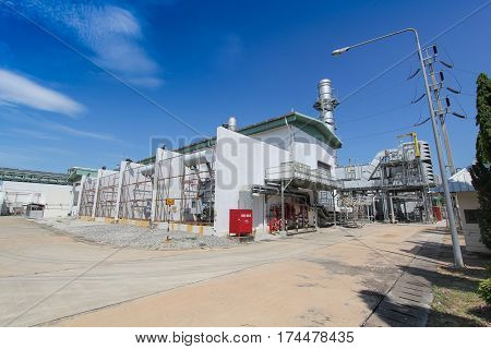 Industrial Power Plant, Gas Turbine With Blue Sky