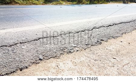 Surface Of Road Has A Long Line Broken