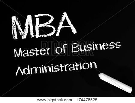 MBA - Master of Business Administration - chalkboard with text