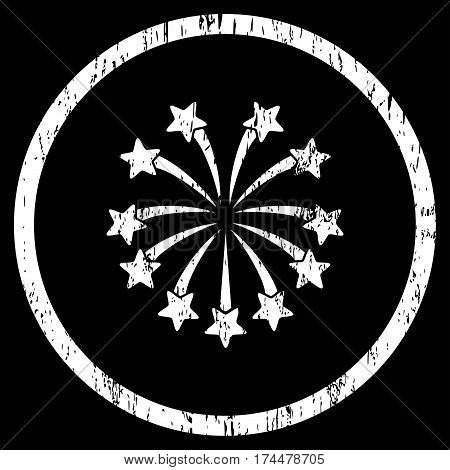 Spherical Fireworks grainy textured icon for overlay watermark stamps. Rounded flat vector symbol with scratched texture. Circled white ink rubber seal stamp with grunge design on a black background.