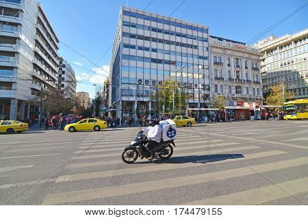 SYNTAGMA ATHENS GREECE, DECEMBER 18 2016: people waiting to cross the road at Syntagma Athens Greece. Editorial use.