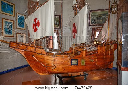 SANTO DOMINGO DOMINICAN REPUBLIC - JANUARY 30 2016: Columbus' ships reproduction. Museum inside the Lighthouse of Christopher Columbus.
