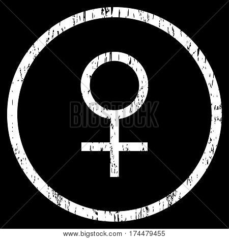 Venus Female Symbol grainy textured icon for overlay watermark stamps. Rounded flat vector symbol with unclean texture. Circled white ink rubber seal stamp with grunge design on a black background.