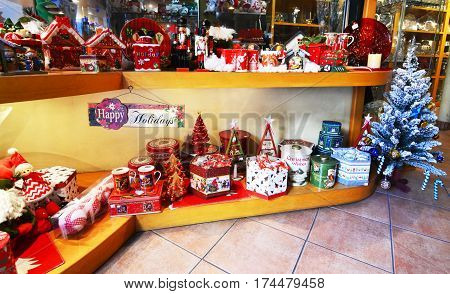 MONASTIRAKI ATHENS GREECE, DECEMBER 17 2016: store selling decorative Christmas ornaments Athens Greece. Editorial use.