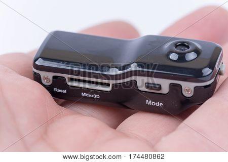 Spy Hidden Mini Camera Device In The Hand
