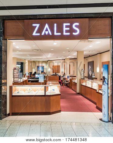 Fairfax USA - February 18 2017: Zales sign inside in mall jewelery store