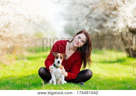 Beautiful Young Woman Sitting In Front Of Wonderful Blooming Trees With Her Dog
