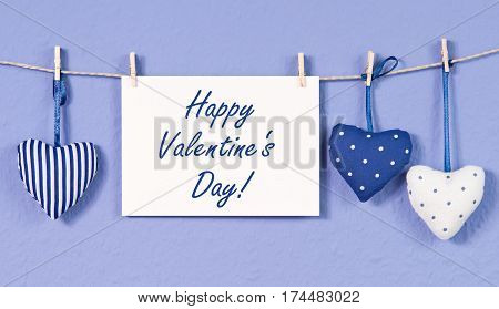 Happy Valentines Day - postcard with fabric hearts and text