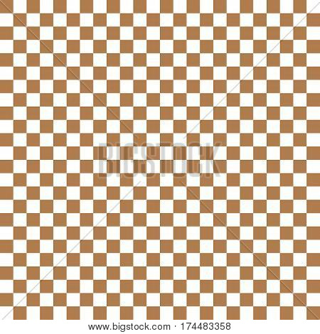 Brown White Squares. Chess Background. Abstract Lattice. Vector Illustration.