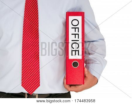 Office - Manager with binder on white background