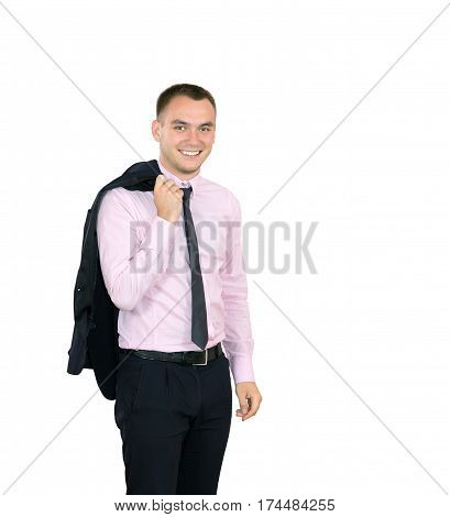 Young smiling Man in Business Clothing on white Background in relaxed pose