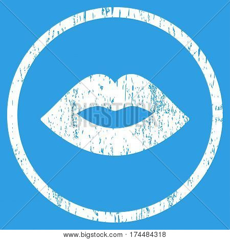 Lips grainy textured icon for overlay watermark stamps. Rounded flat vector symbol with unclean texture. Circled white ink rubber seal stamp with grunge design on a blue background.