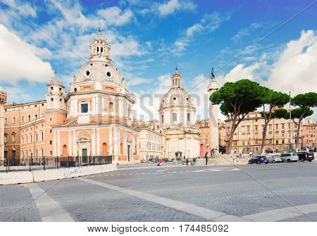 Piazza Foro Traiano with famous column of Trajan, Rome, Italy