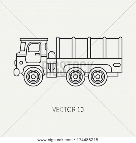 Line flat plain vector icon tarpaulin wagon army truck. Military vehicle. Cartoon vintage style. Cargo and soldiers transportation. Tractor unit. Tow auto. Simple. Illustration and element for design.