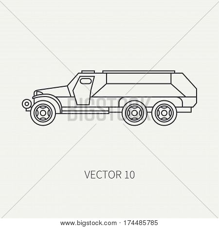 Line flat plain vector icon infantry assault armored army truck. Military vehicle. Cartoon vintage style. Transport soldiers. Defended. Tractor unit. Tow. Simple. Illustration and element for design.