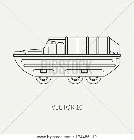 Line flat plain vector icon infantry assault armored army truck. Military amphibious vehicle. Cartoon vintage style. Soldiers. Gun turret. Tractor unit. Tow. Simple. Illustration, element for design.