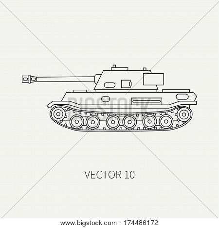 Line flat plain vector icon infantry assault army tank. Military vehicle. Cartoon vintage style. Soldiers. Armored corps. Weaponry. Tractor unit. Tow. War. Simple. Illustration and element for design