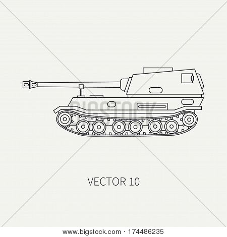 Line flat plain vector icon self-propelled artillery army unit. Military vehicle. Cartoon vintage style. Soldiers. Armored corps. Weaponry. Tractor unit. Tow. War. Illustration and element for design poster