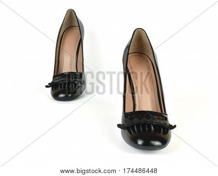 Pair of Black High Heel Loafer Shoes in a Step Pose