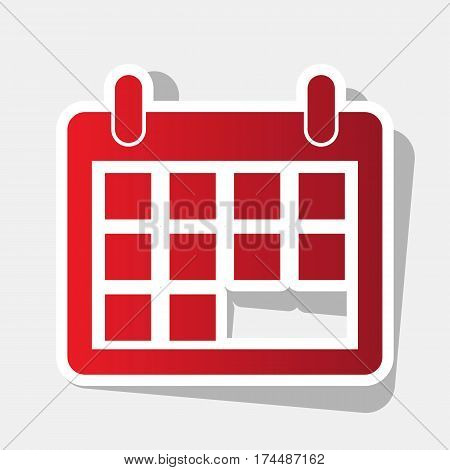 Calendar sign illustration. Vector. New year reddish icon with outside stroke and gray shadow on light gray background.