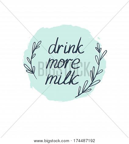 Milk graphic design vector illustration with stylish text. Vector background with lettering
