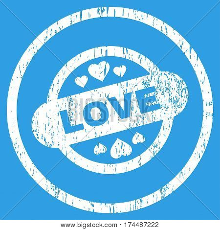 Love Stamp Seal grainy textured icon for overlay watermark stamps. Rounded flat vector symbol with scratched texture. Circled white ink rubber seal stamp with grunge design on a blue background.