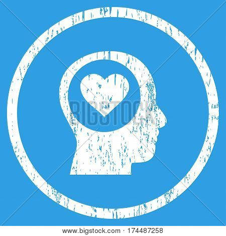 Love Thinking Head grainy textured icon for overlay watermark stamps. Rounded flat vector symbol with scratched texture. Circled white ink rubber seal stamp with grunge design on a blue background.