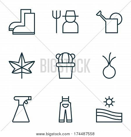 Set Of 9 Holticulture Icons. Includes Bailer, Autumn Plant, Sprinkler And Other Symbols. Beautiful Design Elements.