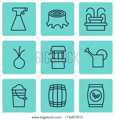 Set Of 9 Agriculture Icons. Includes Bailer, Grains, Sprinkler And Other Symbols. Beautiful Design Elements.