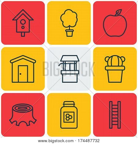 Set Of 9 Agriculture Icons. Includes Wood Pot, Water Source, Stairway And Other Symbols. Beautiful Design Elements.