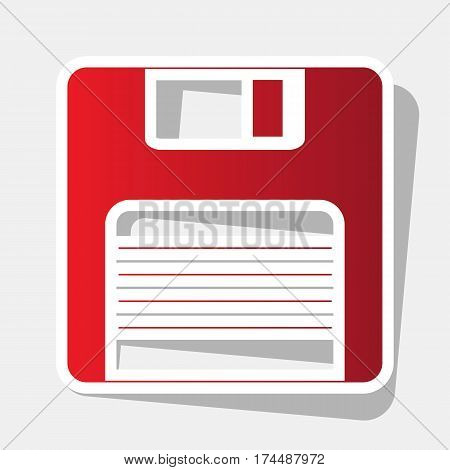 Floppy disk sign. Vector. New year reddish icon with outside stroke and gray shadow on light gray background.