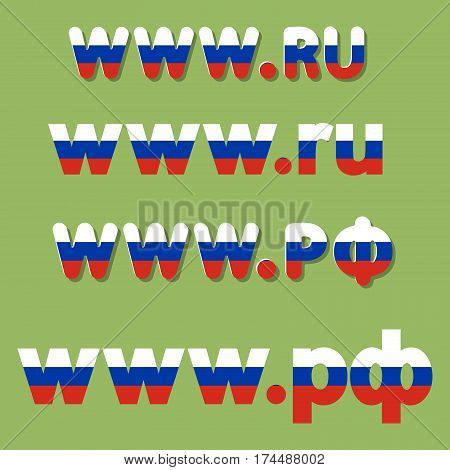 flat vector russian national top-level domain extension with Russian flag colors