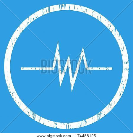 Pulse Signal grainy textured icon for overlay watermark stamps. Rounded flat vector symbol with scratched texture. Circled white ink rubber seal stamp with grunge design on a blue background.