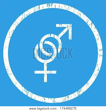 Sex Symbol grainy textured icon for overlay watermark stamps. Rounded flat vector symbol with dirty texture. Circled white ink rubber seal stamp with grunge design on a blue background.