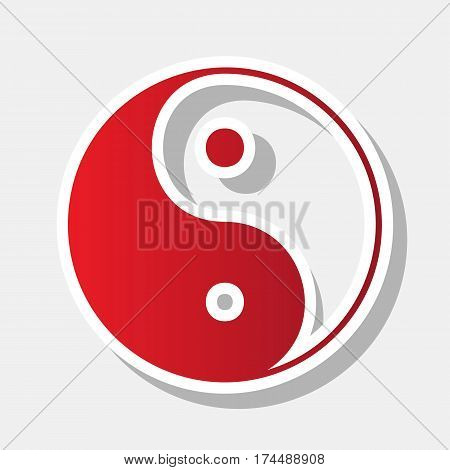 Ying yang symbol of harmony and balance. Vector. New year reddish icon with outside stroke and gray shadow on light gray background.