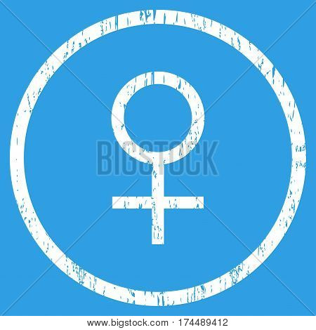 Venus Female Symbol grainy textured icon for overlay watermark stamps. Rounded flat vector symbol with dirty texture. Circled white ink rubber seal stamp with grunge design on a blue background.
