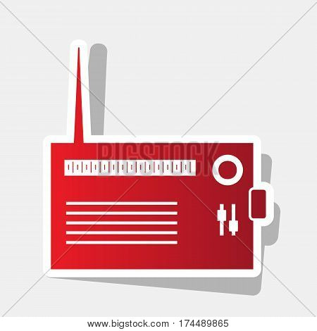 Radio sign illustration. Vector. New year reddish icon with outside stroke and gray shadow on light gray background.