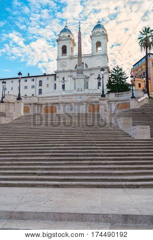 stairs of famous Spanish Steps with fountain, Rome, Italy