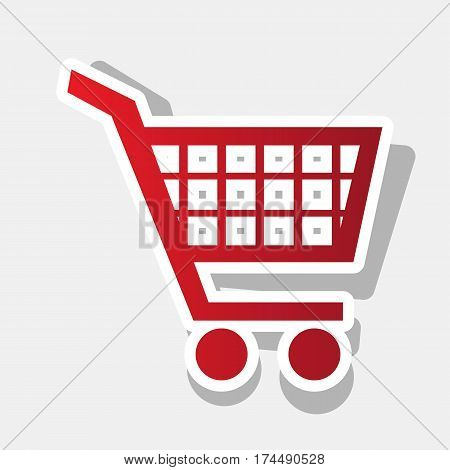 Shopping cart sign. Vector. New year reddish icon with outside stroke and gray shadow on light gray background.