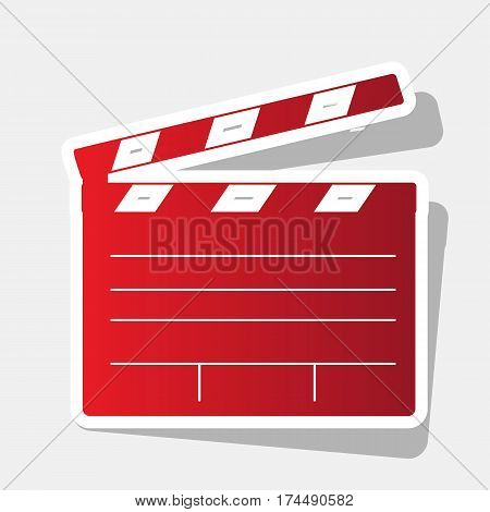 Film clap board cinema sign. Vector. New year reddish icon with outside stroke and gray shadow on light gray background.