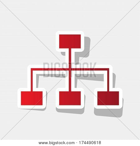 Site map sign. Vector. New year reddish icon with outside stroke and gray shadow on light gray background.