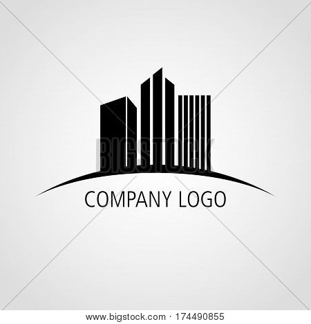 Buildings icon for company logo isolated on white