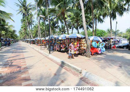 CHONBURI THAILAND - NOV 29 2015: Local market at Bangsaen beach. Nearest market in front of Bangsaen beach in Chonburi province Thailand.