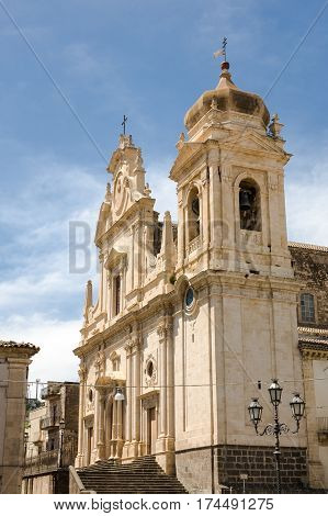 The facade of the baroque Mother Church of San Nicolo and Santissimo Salvatore in the town of Militello in Val di Catania in southern Sicily Italy