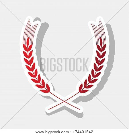 Wheat sign illustration. Spike. Spica. Vector. New year reddish icon with outside stroke and gray shadow on light gray background.