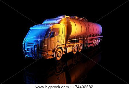 Truck driven by fuel  on a black background. ,3d render