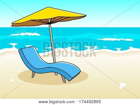 Doodle illustration of relaxing chair under big umbrella on the beach